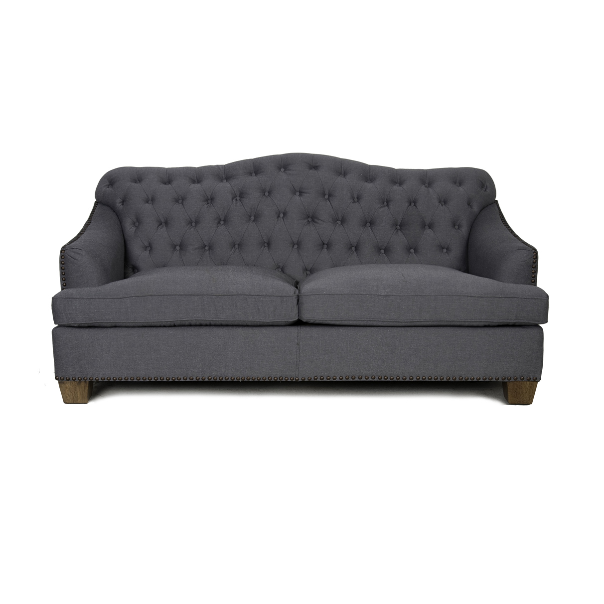 Bardot tufted sofa with nailheads charcoal zin home for Charcoal sofa