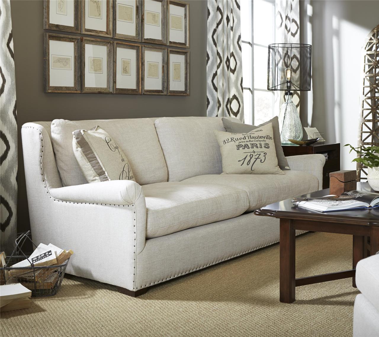 Modern Eclectic Living Room Furniture Zin Home -  haven belgian linen upholstered wingback sofas