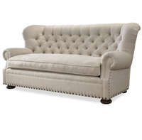 Maxwell Linen Upholstered Tufted Sofa with Nailheads