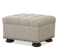 Maxwell Linen Upholstered Tufted Ottoman with Nailhead Trim