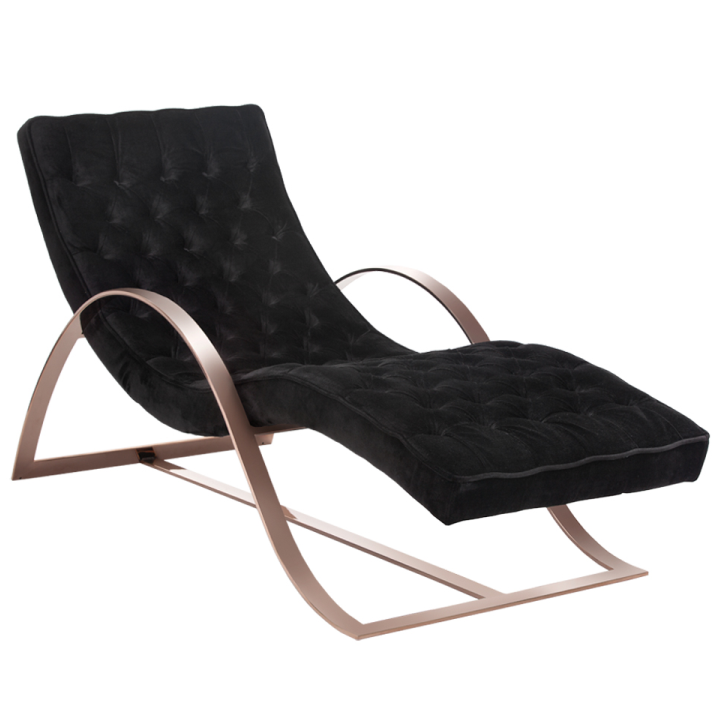 Palais velvet chaise lounge with rose gold legs zin home for Black and gold chaise lounge