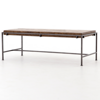 Simien Iron Leg Slab Wood Top Coffee Table