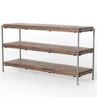 Simien Iron Frame + Slab Wood Shelf Media Console