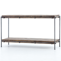 Simien Iron Frame + Slab Wood Console Table 54""