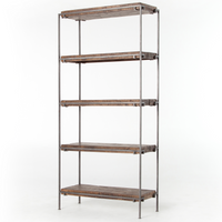 Simien Modern Industrial Iron Frame + Slab Wood Bookcase