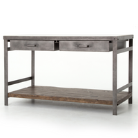 Elliot Modern Industrial White Marble Top Kitchen Island