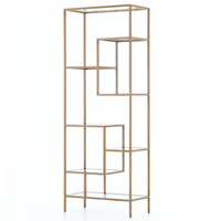 Helena Staggered Antique Brass + Glass Shelf Bookcase 83""