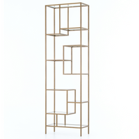 Helena Staggered Antique Brass + Glass Shelf Bookcase 102""