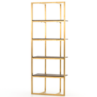 Grainger Polished Brass Frame Bookcase Etagere