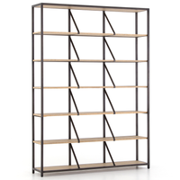 Hennessy Rustic Oak Wood and Metal Library Bookshelf