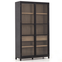 Millie Drifted Black Oak Wood Glass Door Display Cabinet