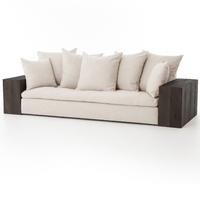 Dorset Rustic Loft Beige Linen Sofa with Peroba Wood Arms