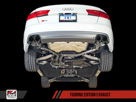 AWE Tuning Touring Edition Exhaust for Audi S6 4.0T - Polished Silver Tips