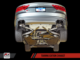 AWE Tuning Touring Edition Exhaust for 2012+ Audi S7 4.0T - Polished Silver Tips