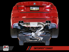 AWE Tuning Downpipe Back SwitchPath Exhaust + SwitchPath Remote, Quad Outlet - Diamond BlackTips (80mm) for BMW F3x N26