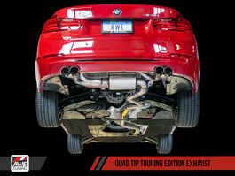 AWE Tuning Touring Edition Exhaust, Quad Outlet - Chrome Silver Tips (80mm) for BMW F3x N20/N26 328i/428i
