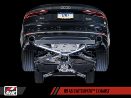 AWE Tuning B9 A5 SwitchPath Exhaust, Dual Outlet - Chrome Silver Tips (includes DP & SwitchPath Remote) (3025-32026)