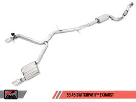 AWE Tuning B9 A5 SwitchPath Exhaust, Dual Outlet - Diamond Black Tips (includes DP & SwitchPath Remote) (3025-33026)
