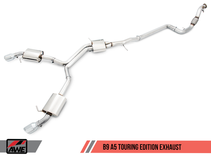 AWE Tuning Touring Edition Exhaust, Dual Outlet - Diamond Black Tips (includes DP) for Audi B9 A5 (3015-33090)