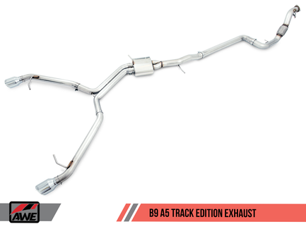 AWE Tuning Track Edition Exhaust, Dual Outlet - Chrome Silver Tips (includes DP) for Audi B9 A5 (3020-32032)
