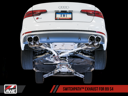 AWE SwitchPath™ Exhaust for Audi B9 S4 - Non-Resonated - Chrome Silver 90mm Tips (3025-42034)