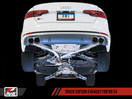 AWE Track Edition Exhaust for Audi B9 S4, Resonated for Performance Catalyst with Chrome Silver 102mm Tips (3015-42110)