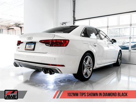 AWE Touring Edition Exhaust for Audi B9 S4, Resonated for Performance Catalyst - Diamond Black 90mm Tips (3015-43120)