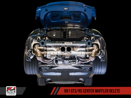 AWE Center Muffler Delete for Porsche 991.1 / 991.2 GT3 / RS with Chrome Silver Tips (3010-32036)