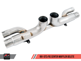AWE Center Muffler Delete for Porsche 991.1 / 991.2 GT3 / RS - Diamond Black Tips (3010-33044)