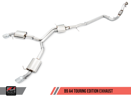 AWE Touring Edition Exhaust for B9 A4, Dual Outlet - Chrome Silver Tips (includes DP) (3015-32078)