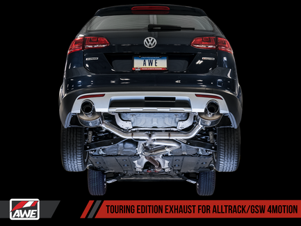 AWE Touring Edition Exhaust for VW Golf Alltrack / Sportwagen 4Motion with Chrome Silver Tips (3015-32098)