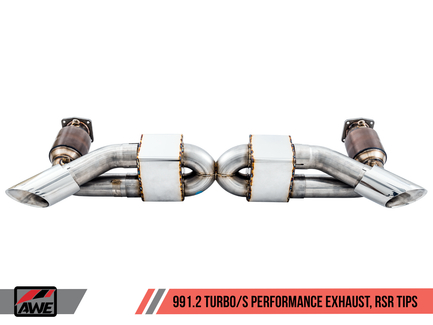 AWE Performance Exhaust and High-Flow Cat Sections for Porsche 991.1 / 991.2 Turbo - Diamond Black RSR Tips (3015-33046)