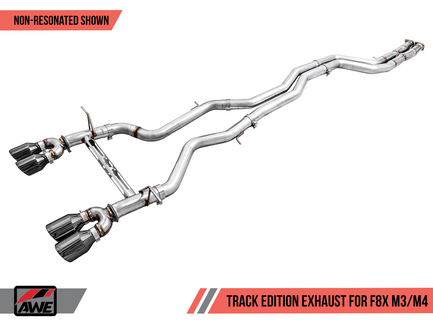 AWE Resonated Track Edition Exhaust for BMW F8X M3 / M4 with Chrome Silver 102mm Tips (3015-42082)