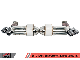 AWE Performance Exhaust and High-Flow Cat Sections for Porsche 991.2 Turbo - With Chrome Silver Quad Tips (3015-42084)