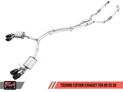 AWE Touring Edition Exhaust for B9 S5 Coupe - Resonated for Performance Catalyst - Diamond Black 90mm Tips (3015-43128)