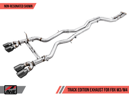 AWE Track Edition Resonated Exhaust for BMW F8X M3/M4 with Carbon Fiber Tips (3015-45018)