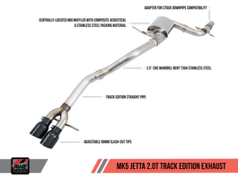 AWE Track Edition Exhaust for MK5 Jetta 2.0T - GLI - Polished Silver Tips (3020-22030)