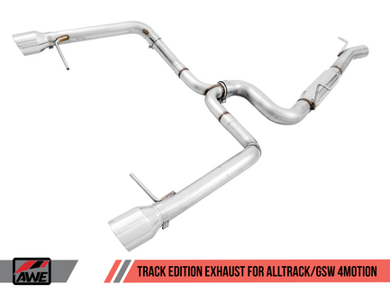 AWE Track Edition Exhaust for VW Golf Alltrack / Sportwagen 4Motion - Chrome Silver Tips (3020-32044)