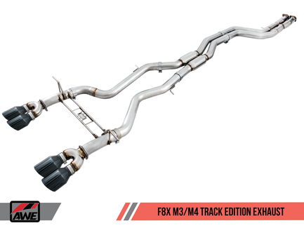 AWE Non-Resonated Track Edition Exhaust for BMW F8X M3 / M4 with 90mm Diamond Black Tips (3020-43058)