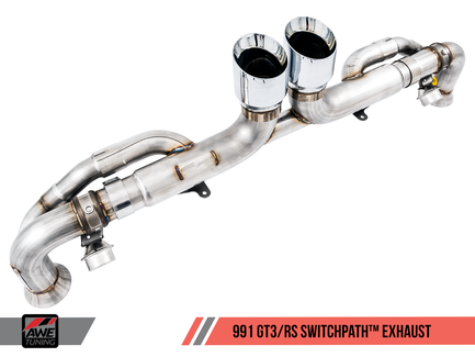 AWE SwitchPath Exhaust for Porsche 991.1 / 991.2 GT3 / RS with Chrome Silver Tips (3025-32016)