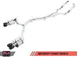 AWE SwitchPath Exhaust for B9 S4 - Resonated for Performance Catalyst with Chrome Silver 90mm Tips (3025-42050)