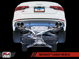 AWE SwitchPath Exhaust for B9 S4 - Resonated for Performance Catalyst with Chrome Silver 102mm Tips (3025-42052)
