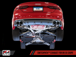 AWE SwitchPath Exhaust for B9 S4 - Resonated for Performance Catalyst with Carbon Fiber Tips (3025-45008)