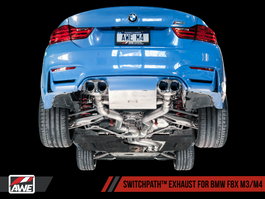 AWE SwitchPath Exhaust, Non-Resonated with Carbon Fiber Tips for BMW F8X M3/M4 (3025-45014)