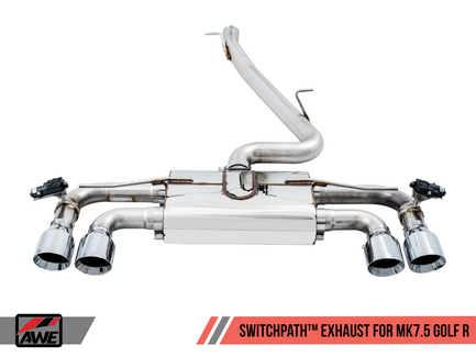 AWE SwitchPath™ Exhaust for MK7.5 Golf R with Chrome Silver 102mm Tips (3025-42048)