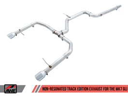 AWE Track Edition Exhaust - Non-Resonated for MK7 Jetta GLI w/ Stock Downpipe - Chrome Silver Tips (3020-22034)