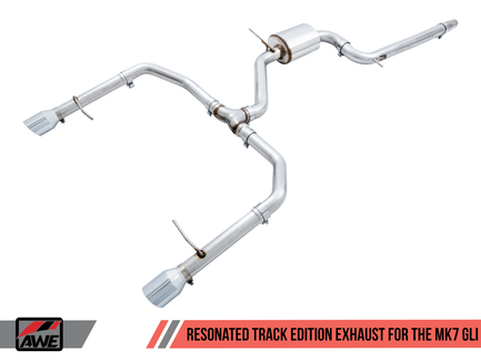 AWE Resonated Track Edition Exhaust for MK7 Jetta GLI w/ High Flow Downpipe (not included) - Chrome Silver Tips (3015-22068)