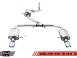 AWE Touring Edition Exhaust for MK7 Jetta GLI w/ High Flow Downpipe (not included) - Diamond Black Tips (3015-23062) Chrome exhaust tips shown for reference only.