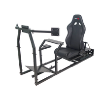 GTR Simulator GTM motion Model Frame with Seat and Triple Monitor Stand (Motor, Shifter Holder, Seat Slider Included) (GTM+) Shown: Black Frame with Black Seat