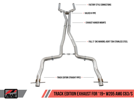 AWE Track Edition Exhaust System for 2019+ Mercedes-Benz W205 AMG C63/S Sedan (no tips) (3020-11034)